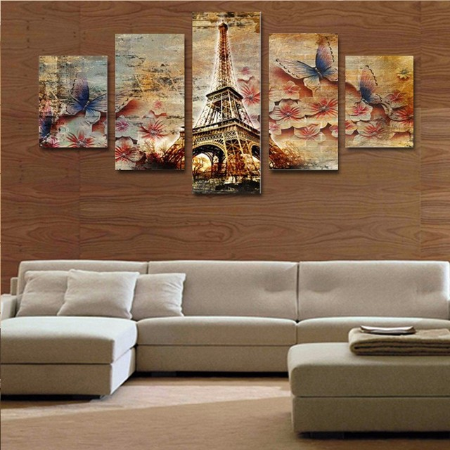 5 Piece Canvas Art 3D Butterfly Tower Home Wall Decor Canvas Picture Art HD  Print Painting