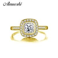 AINUOSHI Trendy Square Halo Ring Bezel Setting Real 14K Solid Yellow Gold Sona Simulated Diamond Wedding Engagement Women Ring