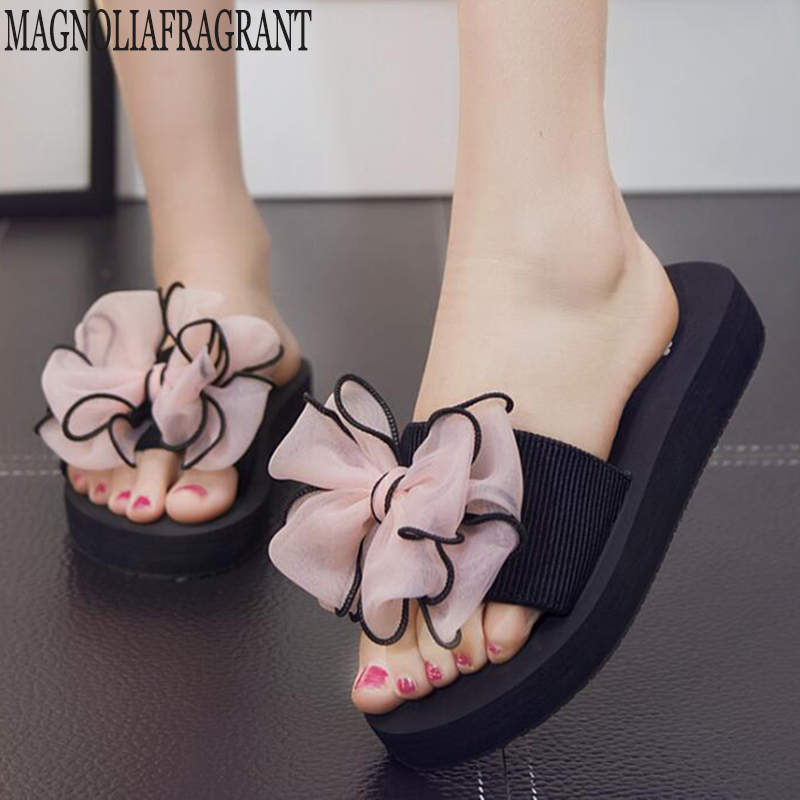 Summer Slippers Women Women Flip Flops Fashion Solid Color Bow Flat Heel Sandals Outdoor Platform Shoes Beach Shoes For Female C