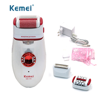 Kemei Foot Care Tool Feet Skin Care Dead Skin Removal Electric Foot Exfoliator Heel File Callous Remover hair shaver kit 3 in 1