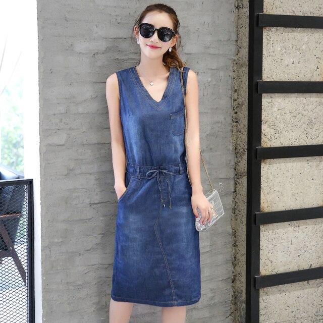 2017 Women Summer Dresses Female Blue Plus Size V-neck Sleeveless Strapless  Denim Dress for Women s Lacing Slim Thin Long Dress 466b85b82284