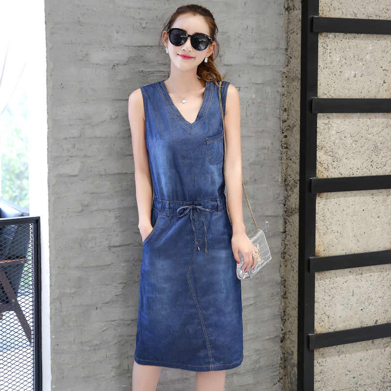 2017 женские летние платья синего размера плюс с v-образным вырезом без рукавов без бретелек джинсовое платье для женщин на шнуровке тонкое длинное платье