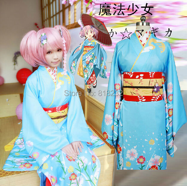 Puella волхвов Мадока Magica Канаме Мадока кимоно юката платье наряд аниме Костюмы для косплея