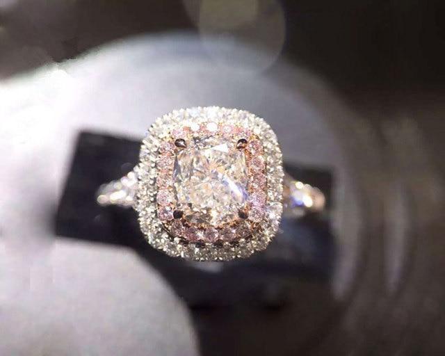 Charms Belle Gioielli Anelli Per Le Donne 925 Sterling Silver Cubic Zirconia Wedding Pink & White Piazza Anello Nuziale Anello Di Fidanzamento