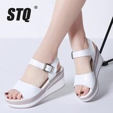 STQ 2020 Women Sandals White Flat Sandals Wedges Heel Summer Women Open Toe Platform Sandalias Ladies Gladiator Sandals 8626