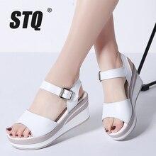STQ 2020 kadın sandalet beyaz düz sandalet takozlar topuk yaz kadın burnu açık platformu Sandalias bayanlar gladyatör sandalet 8626