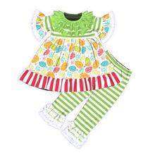 Baby Toddler Girls Easter Paschal Eggs Ruffled Dress Shirt Pants Clothes Set