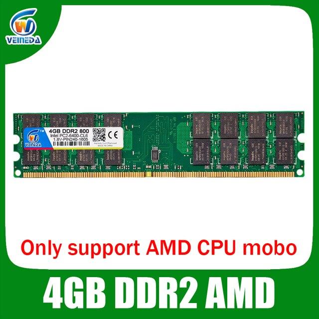 VEINEDA 4G DDR2 800/667 4 Гб ОЗУ память Рабочий стол amd mobo совместимая оперативная память ddr2 pc2-6400