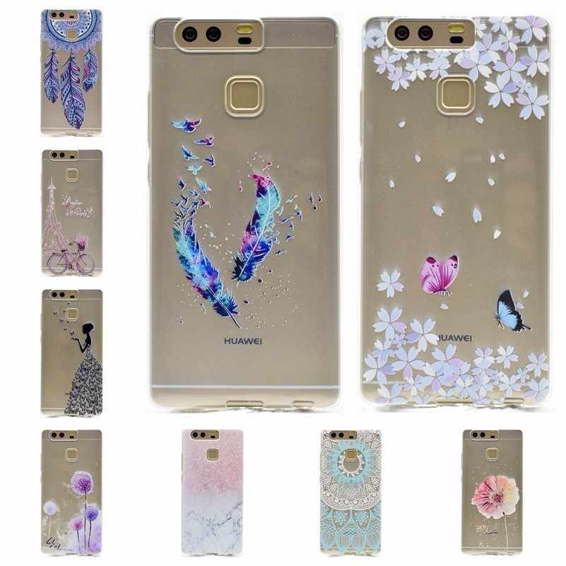 Ultra Thin Soft Silicone Case For Huawei Honor 5C 8 V8 9 6A 5X 7X 6X V9 lite nova 3e 2 Plus P Smart Flower Marble Pattern Covers