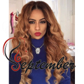 Honey blonde ombre wigs Synthetic lace front wig body wave heat resistant synthetic synthetic lace wig for black women