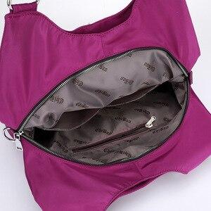 Image 5 - Популярная женская сумка, повседневная большая сумка на плечо, нейлоновая сумка тоут от известного бренда, фиолетовые сумки для мам, водонепроницаемые сумки черного цвета