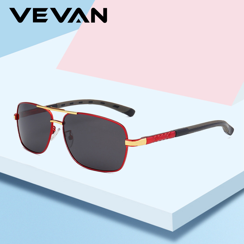 VEVAN Vintage Aluminum HD Polarized Sunglasses Men UV400 Classic Brand 2019 Sun Glasses Driving For Male oculos de sol With Box