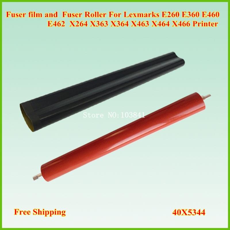Fuser Film Sleeve + Lower Fuser Roller for Lexmark E260 E360 E460 E462 X264 X363 X364 X463 X464 X466 Fuser Pressure Roller pressure roller for lexmark w840 850 x850 x860 x864 5500