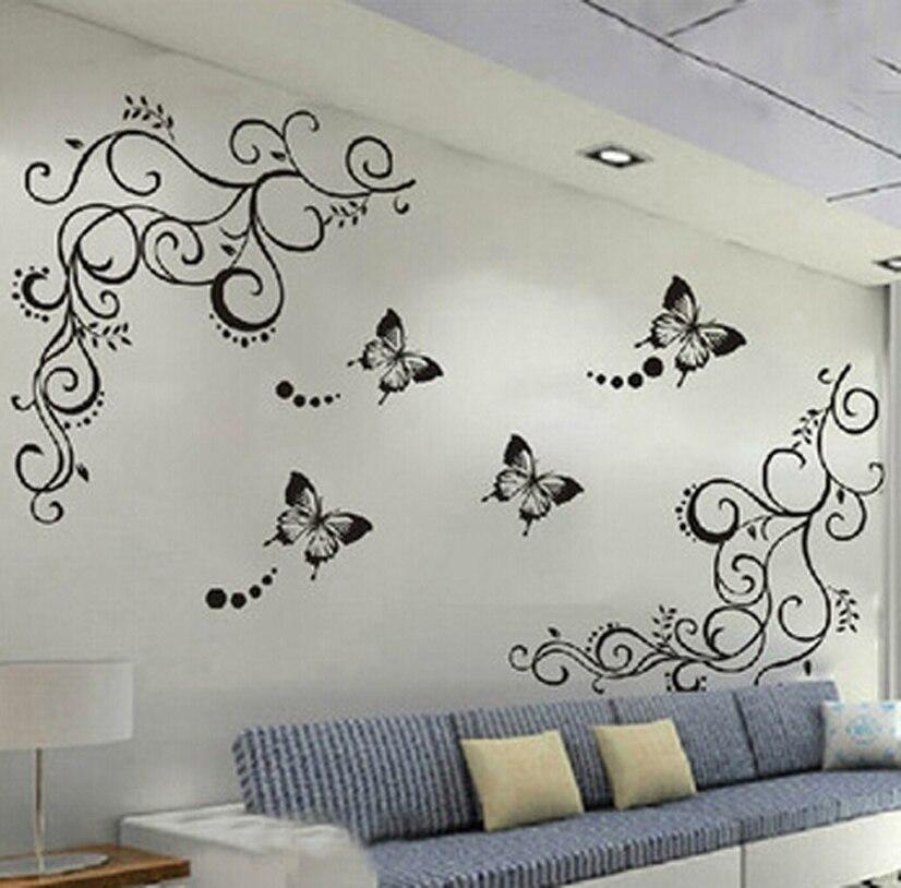 3d Lowest Price Calssic Black Butterfly Flower Wall Sticker Home Decor Poster Flora Butterflies Tv Wall