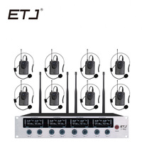 ETJ Беспроводной микрофон Системы профессиональный микрофон 8 динамический канал 8 микрофон гарнитуры 4 ручной караоке Mic U 802