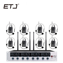 ETJ Wireless Microphone System Professional 8 Channel Dynamic Headset 4 Handheld Karaoke Mic U-802