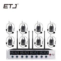 ETJ Wireless Microphone System Professional Microphone 8 Channel Dynamic 8 Headset Microphone 4 Handheld Karaoke Mic U-802