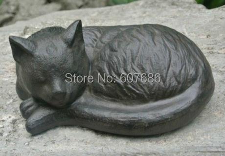 Wrought Iron Sleeping Cat Rural Cast Iron Cat Animal Figurine Cottage Yard  Garden Outdoor Decor Country