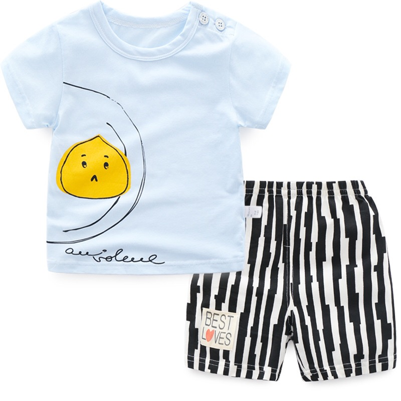 Child Women Boys Garments Units 2018 Summer season Printed Brief Sleeve Tops Shirts + Striped Shorts Informal Children Kids's Clothes Go well with