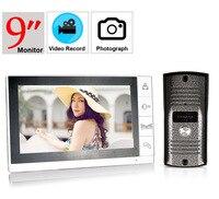 9inch video record video doorphone system 700tvl color intercom 9 lcd monitor door phone system