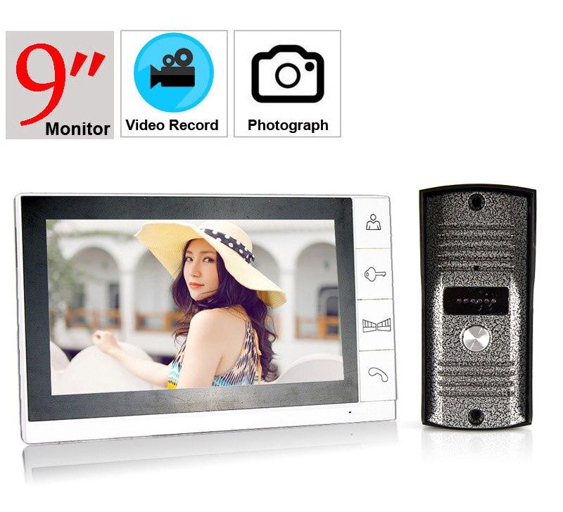 9inch Video Record Video Doorphone System 700tvl Color Intercom 9