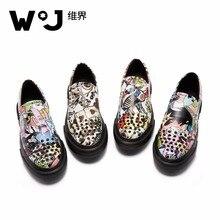 W.j мужская повседневная обувь кожаные лоферы с заклепками повседневная обувь Мужская дышащая смешанные Цвет граффити с цветочным принтом Новая модная мужская обувь