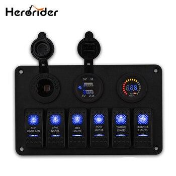 Herorider 6 Gang LED Rocker Anahtarı Paneli devre kesici Şarj 2 USB soket Cigaretter Fiş Voltmetre Araba Otomatik Anahtarları 12 v