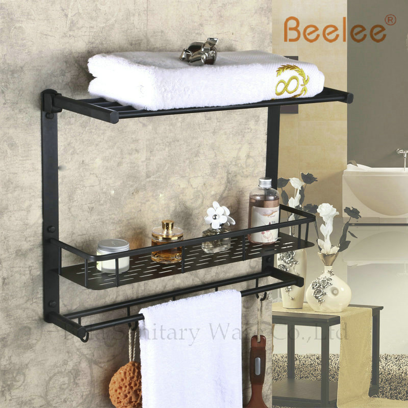 Beelee BL8501B Oil Rubbed Bronze Storage Holder Wall Mount Bath Shelf With Towel Bar Dua ...