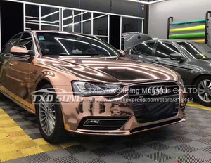 Image 5 - 50CM*1M/2M/3M/4M/5M Roll Car styling High stretchable Mirror rose gold Chrome Mirror Vinyl Wrap Sheet Roll Film Car Sticker