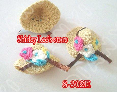 600X(3,5x4,5 см) супер красивое кружево кроше ручная работа миниатюрная шляпа в желтый/слоновой кости/светло-синий, 3 цвета