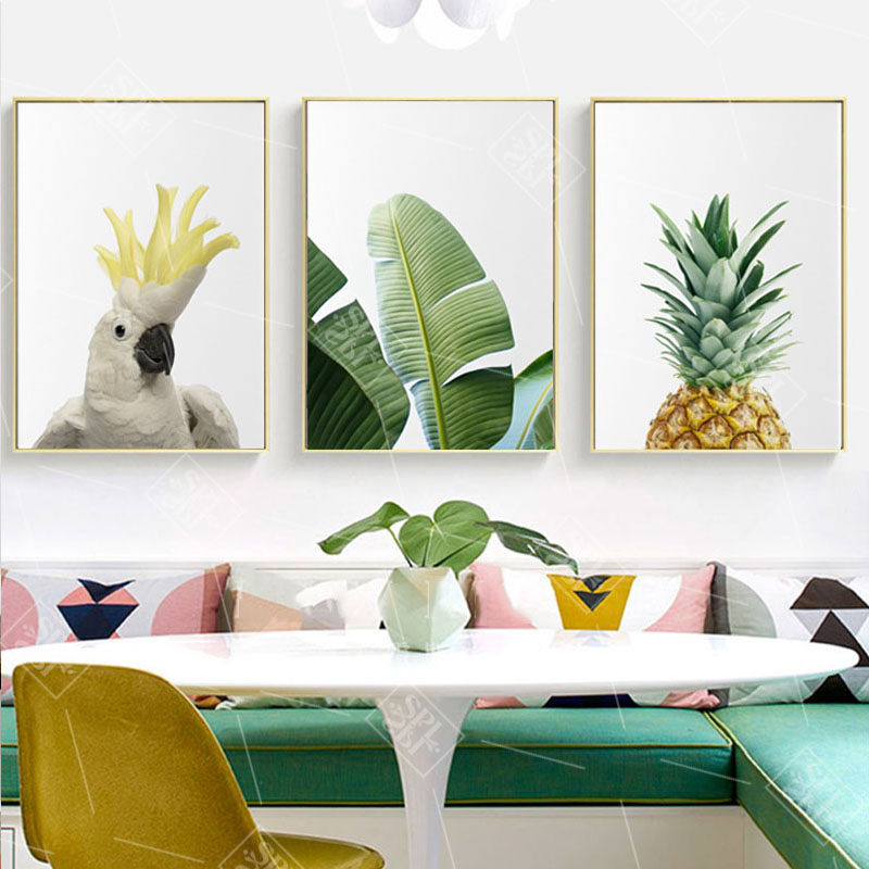 Tropical Wall Art Canvas Painting Pineapple Posters And Prints Green Banana Leaf Pictures For Living Room Kitchen Decor No Frame