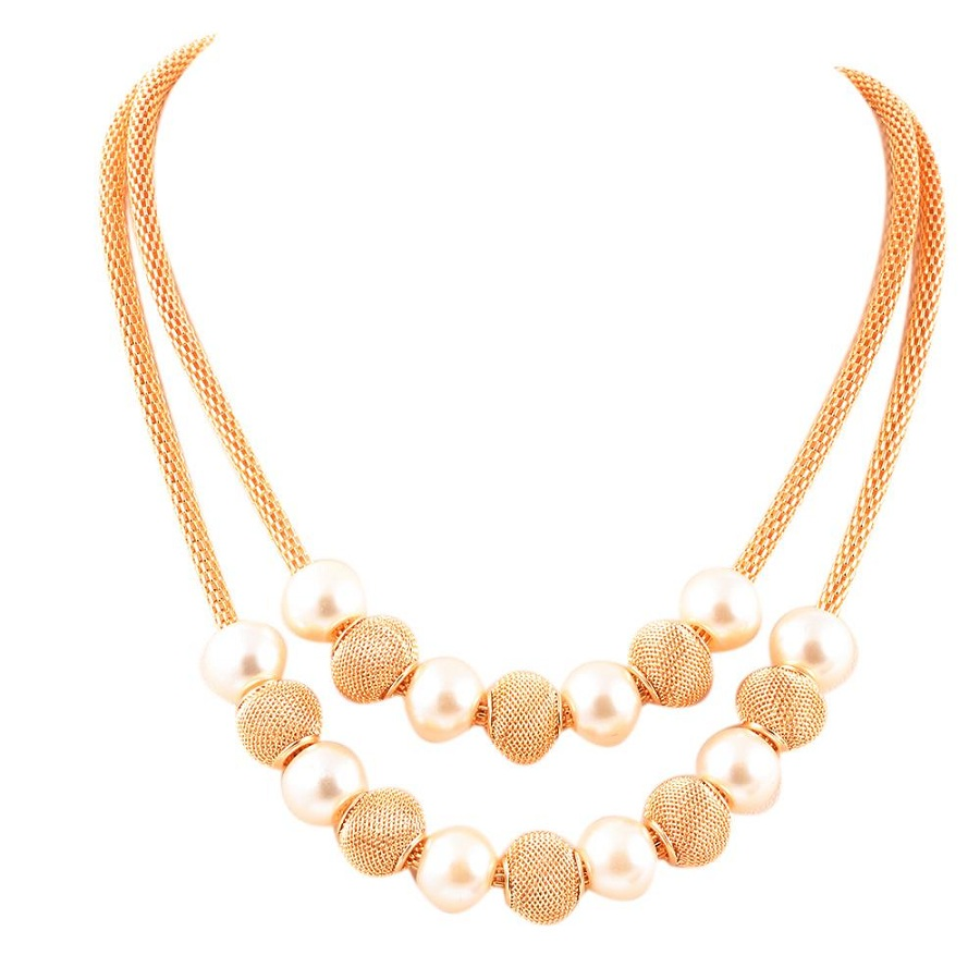New Multi layers Chain simulated Pearl Metal Ball Pendants Necklaces font b Women b font Collares