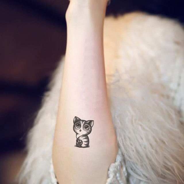 Tatuaje Gatos impermeable tatuaje temporal adhesivos gris negro lindo tiny gatos