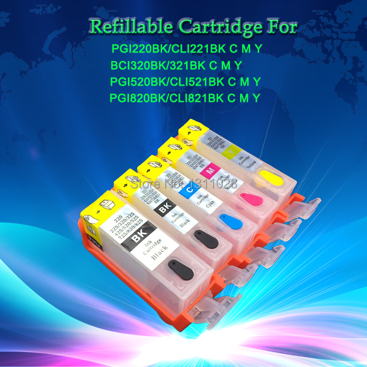 цена на INK WAY 15sets of PGI-220 CLI-221refillable cartridge BCI-320 BCI-321 PGI-520 CLI-5212 PGI-820 CLI-821 without chip