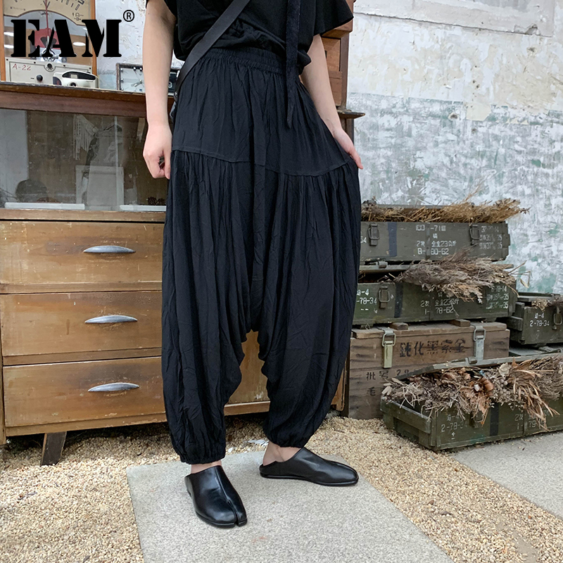 [EAM] 2019 New Spring Summer High Elastic Waist Black Pleated Sttich   Wide     Leg   Loose   Pants   Women Trousers Fashion Tide JU501