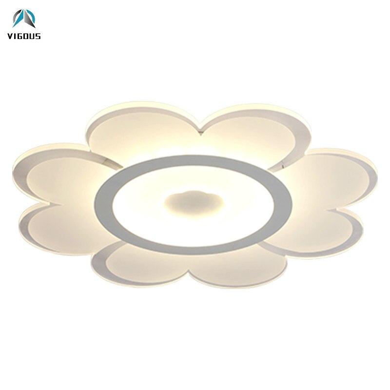 Işıklar ve Aydınlatma'ten Tavan Işıkları'de Modern Parlaklık Led Luminarias Uzaktan Kumanda Kısılabilir Tavan Lambası Akrilik Çiçek Malzeme Metal Tavan Lambası iç mekan aydınlatması