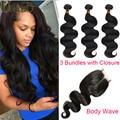 Queen 3 Bundles Brazilian Virgin Hair Body Wave With Closure Brazillian Body Wave With Closure Brazillian Human Hair Closure