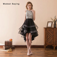 New Fashion Black High/Low Short Beaded Pearls Cocktail Dresses 2018 with Rhinestone Formal Women Party Prom Gown robe cocktail