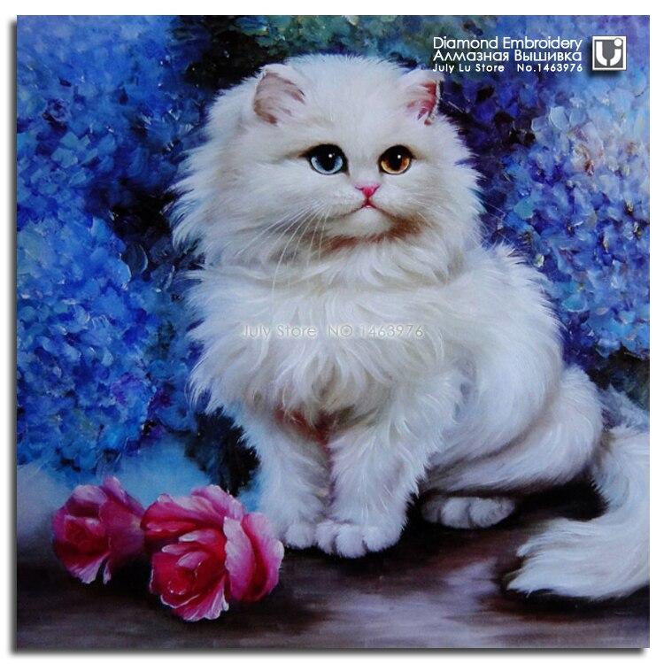 Вышивки крестом белый кот