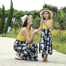 Mother Daughter Dresses Sleeveless Floral Long Dress and Clothes Mom Family Matching