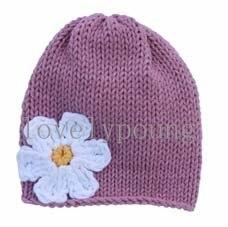 Длительность цветок шапки хлопок шляпы Детские вязаная шапка из мягкого хлопка - Цвет: light purple