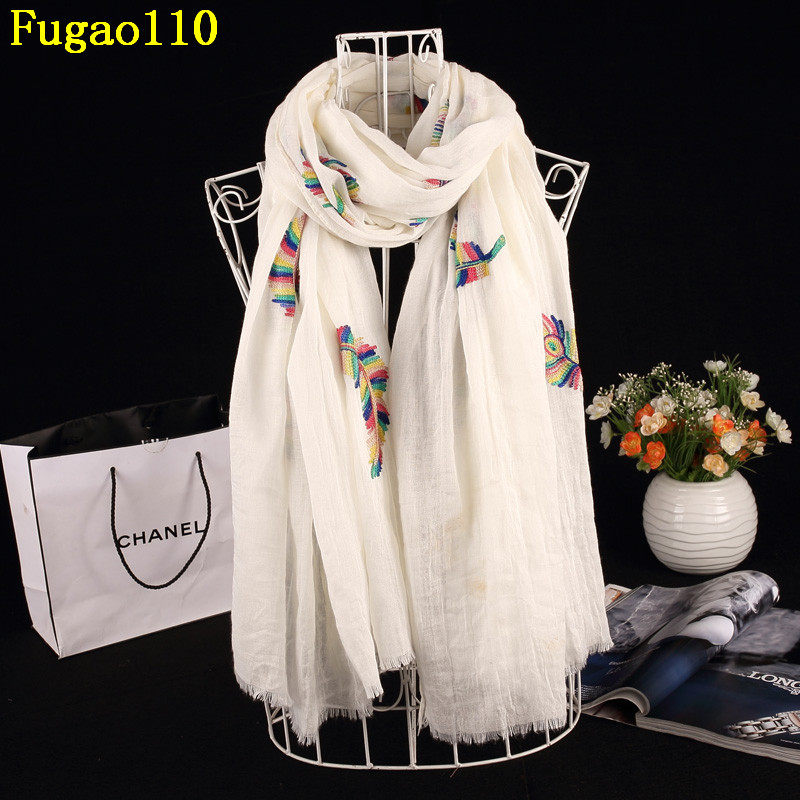 bae1f7d33de8 New Embroidery Feather Cotton Long Shawl Winter Women Flower Scarves Female  Chevron Pashmina Brand Fringe Flowers