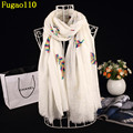 New Embroidery Feather Cotton Long Shawl Winter Women Flower Scarves Female Chevron Pashmina Brand Fringe Flowers Scarf