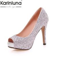 Karinluna جديد كبير الحجم 34-43 اللمحة تو منصة النساء حذاء امرأة مثير بلينغ العلوي رقيقة عالية الكعب حزب مضخات الزفاف