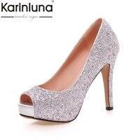 Karinluna nuevo tamaño grande 34-43 peep toe plataforma mujeres Zapatos mujer sexy Bling superior Delgado Tacones altos boda del partido bombas