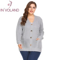 IN VOLAND Big Size XL 4XL Women Sweater Tops Spring Autumn Long Sleeve Button Down Cable