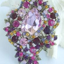 Довольно Teardrop Цветок Брошь Pin ж Многоцветный горный хрусталь кристаллы EE06039C5