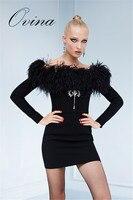High Quality Slash Neck Fur Long Sleeve Beaded Black Rayon Bandage Women Dress Evening Party Dress