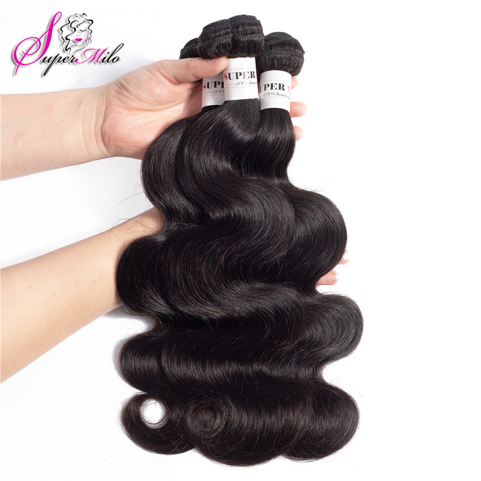 Super Milo Indian Body Wave Hair Extensions 8-26 Inch 100% Human Hair Weave Bundles 1/3/4 Pcs Natural Color Non Remy Hair Human Hair Weaves Hair Weaves