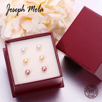 Joseph Mola 3 Pair Natural Freshwater Pearl Stud Earrings 925 Sterling Silver Earring For Women Party Wedding Gift Fine Jewelry